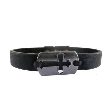 pulseira masculina couro preto cruz