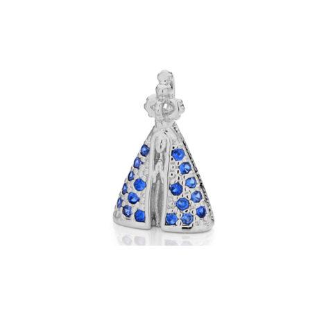 140691 pingente mini nossa senhora aparecida manto zirconia azul banhado rodio ouro branco joia rommanel brilho folheados
