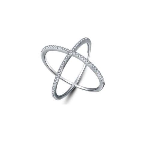 1910478 anel x anel cruzado banhado folheado rodio ouro branco brilho folheados sabrina joias