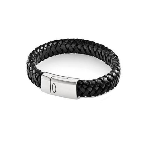 250281 pulseira couro trancado preto rommanel fechoima click brilho folheados