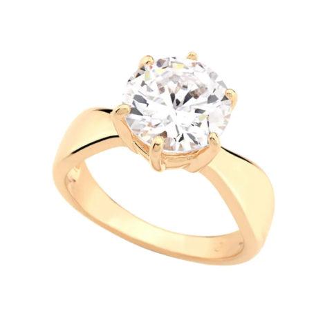 511261 Anel solitario com zirconia redonda grande joia folheada ouro 18k marca rommanel loja brilho folheados