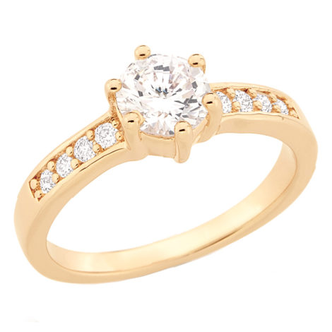 511652 anel solitario zirconia laterais joia rommanel brilho folheados