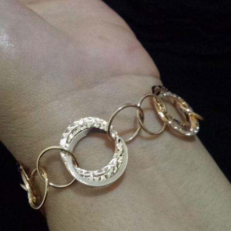 550788 pulseira circulos feminina joia rommanel brilho folheados