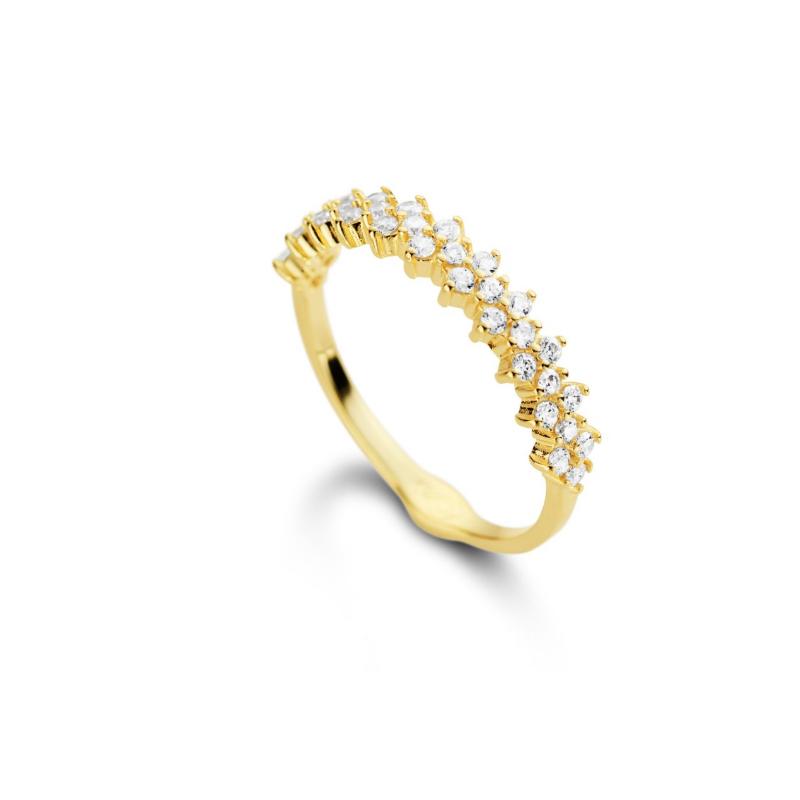 Adesivo De Alto Impacto Quartzolit ~ Anel aparador de aliança com zirc u00f4nias folheado em ouro 18k
