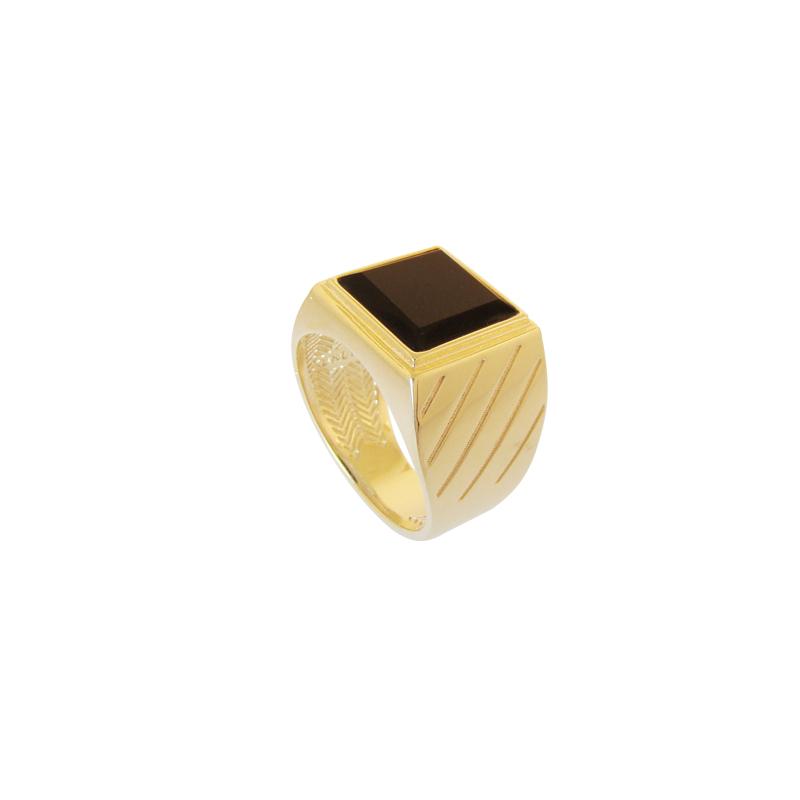 Anel masculino pedra preta folheado ouro Bruna Semijoias joia folheada 6ee4a8724b