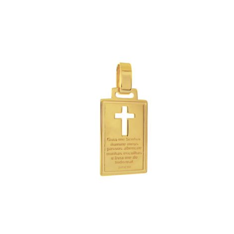 MB 1150 pingente placa retangular cruz vazada mensagem religiosa brilho folheados bruna semijoias