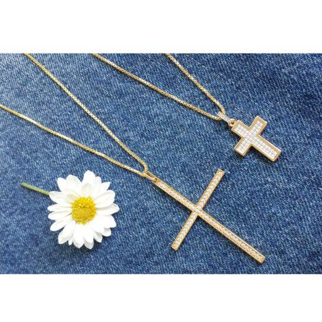 MB0881 foto real pingente cruz semijoia fina religiosa brilho folheados bruna semijoias