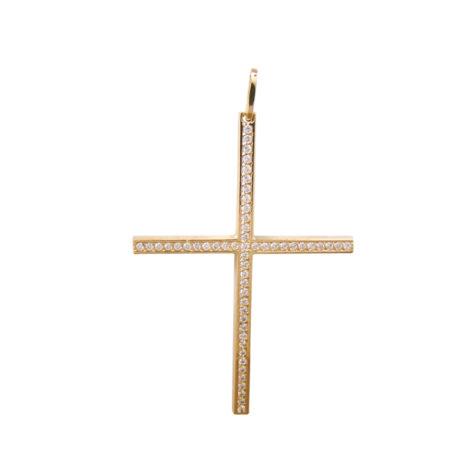 MB0881 pingente cruz palito grande cravejada zirconias brilho folheados bruna semijoias