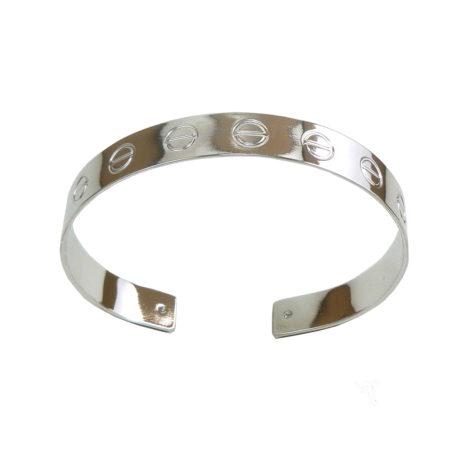 bracelete love cartier inspired brilho folheados ouro branco cor prata