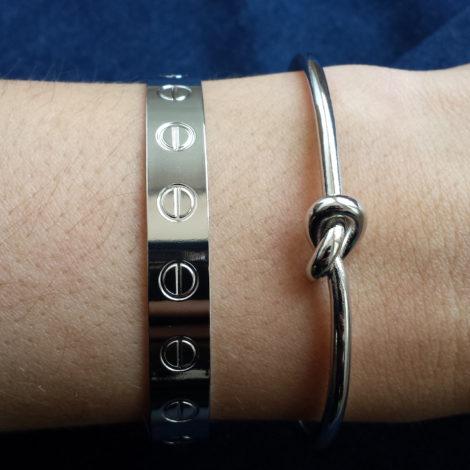 bracelete no banhado folheado em prata brilho folheados