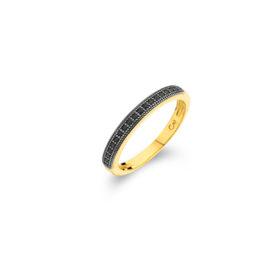 1910495 anel meia alianca zirconia preta banhado folheado ouro dourado sabrina joias brilho folheados