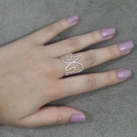 1910518 anel obra de arte linhas contorcidas graciosamente brilho folheados sabrina joias