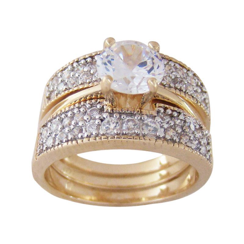 Artesanato Ouro Preto Mg ~ Anel 2 em 1 Aparador com Solitário Bruna Semijoias joia folheada ouro