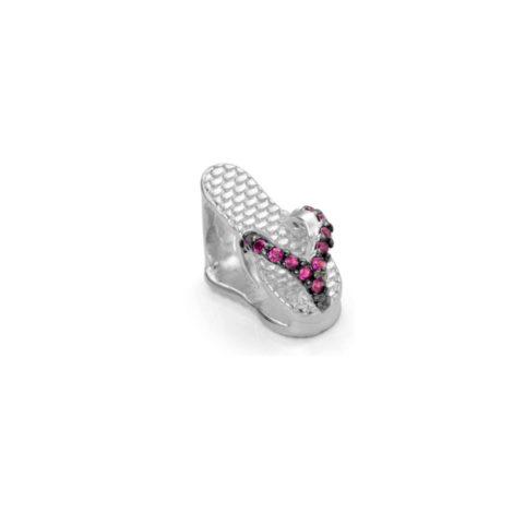 R1800145 berloque chinelo dedo com zirconias rosa joia folheada rodio branco prateado sabrina joias brilho folheados