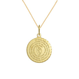 Colar Medalha Oração Ave Maria banhado ouro 18k