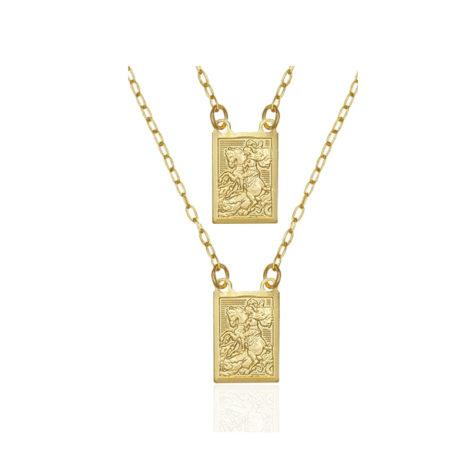 escapulario sao jorge banhado folheado ouro dourado corrente 60cm semijoia antialergica brilho folheados