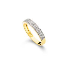 1910471 anel meia alianca 2 fileiras zirconias banhado folheado ouro dourado brilho folheados sabrina joias