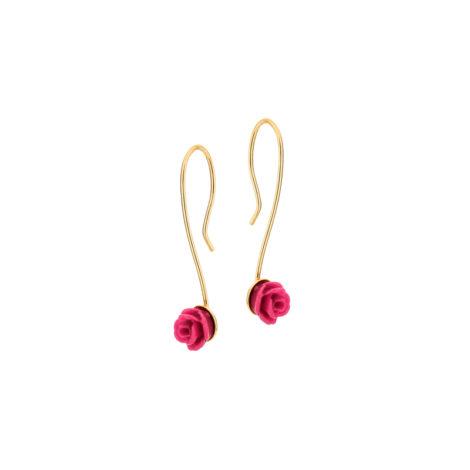 525616 brinco gancho flor resina rosa joia rommanel colecao meu mundo encantado brilho folheados joia rommanel