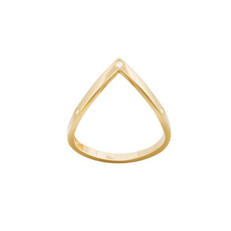 AB1629 anel v super delicado 3 zirconias joia folheada banhada ouro bruna semijoias brilho folheados antialergico sem niquel