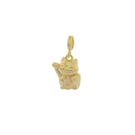 MB1207 berloque gatinho da sorte japones Maneki Neko joia banhada folheada ouro brilho folheados bruna semijoias