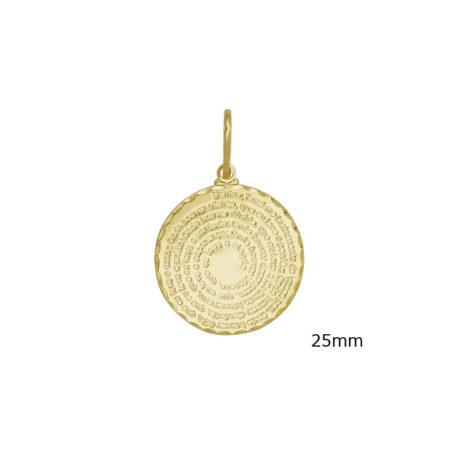 pingente medalha oracao sao francisco assis joia banhada folheada ouro medida 25mm brilho folheados