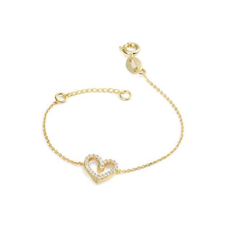 1700104 pulseira infantil delicada coracao cravejado 12cm 14cm comprimento joia folheada ouro brilho folheados sabrina joias