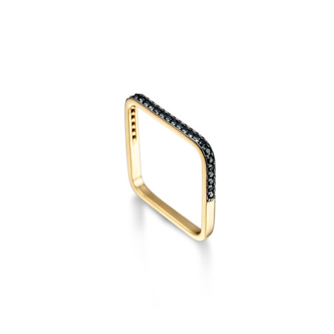 1910372 anel fino quadrado cravejado zirconia preta joia banhada folheada ouro brilho folheados sabrina joias