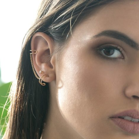 525633 brinco ear cuff corrente piercing encaixe na ponta brilho folheados joia rommanel