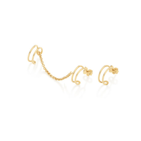 525633 brinco ear cuff meia argola dupla corrente estilo elo portugues com piercing encaixe para cartilagem superior da orelha joia rommanel colecao outro lado argola simples brilho folheados