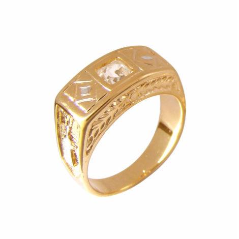 anel formatura infantil pedra retangular branca joia folheada ouro brilho folheados bruna semijoias