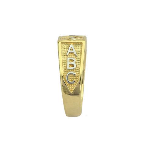 foto lateral anel infantil pedra rosa letrinhas escravadas abc joia folheada ouro bruna semijoias brilho folheados AB1208