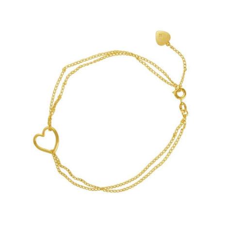 tornozeleira corrente dupla coracao vazado banhada folheada ouro brilho folheados