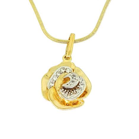 colar feminino corrente rabo de rato com pingente flor cravejado com zirconias joia folheada ouro 18k sabrina joias brilho folheados