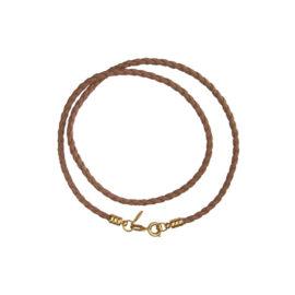 GB0108 colar couro trancado bege marrom preto bruna semijoias brilho folheados