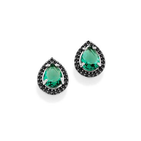 121582 par brinco cristal verde pedra zirconia preta joia folheada rommanel brilho folheados