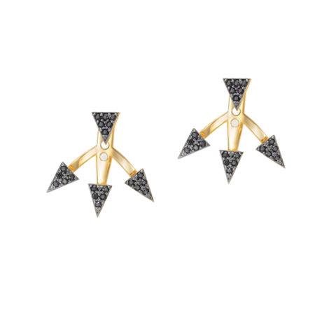 1689393 brinco ear cuff com 4 triangulos em cada peca cravejado zirconia preta joia folheada ouro dourado sabrina joias brilho folheados