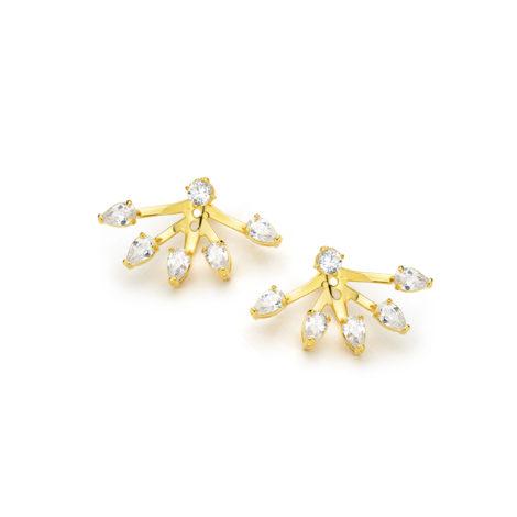 1689411 brinco ear jacket pontos luz sabrinha joias folheado ouro 18k brilho folheados