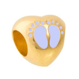 1800299 berloque coracao pes de crianca azul joia folheada ouro marca sabrina joias loja brilho folheados
