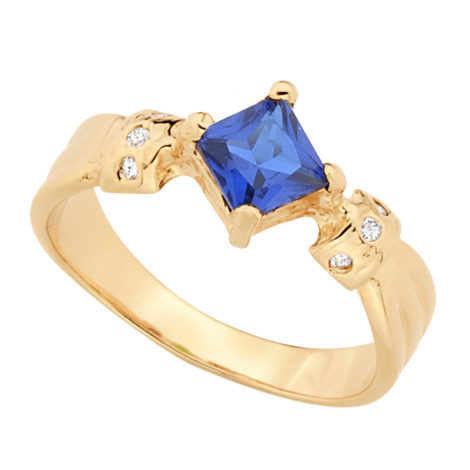 Anel formatura cristal quadrado azul