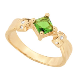 512152 anel de formatura feminino com pedra cristal formato losango cor verde marca rommanel loja brilho folheados