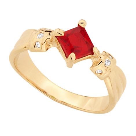 Anel formatura cristal quadrado vermelho