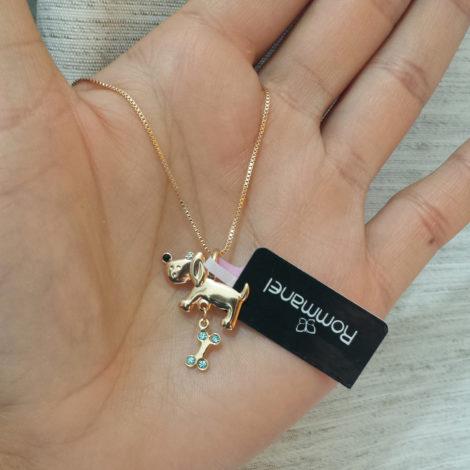 541121 531310 colar feminino 42cm com lindo pingente cachorrinho com ossinho joia rommanel brilho folheados