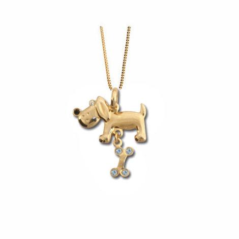 541121 531310 corrente veneziana com pingente cachorro ossinho zirconia azul joia folheada ouro dourado antialergica da marca rommanel brilho folheados