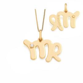 542011 531310 colar pingente signo virgem com 1 zirconia branca joia folheada ouro dourado 18k rommanel brilho folheados e de virgem pessoa nascida entre 23 08 a 22 09