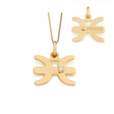 542017 531310 colar pingente signo peixes com uma zirconia branca joia folheada ouro dourado 18k joia rommanel brilho folheados