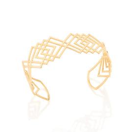 551436 bracelete aberto fios de ouro geometrico losangos sobrepostos colecao fashion rommanel lancamento marco 2017 joia folheada ouro brilho folheados