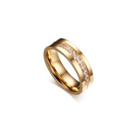 alianca feminina material base aco inox banho 3 camadas ouro dourado amarelo brilho folheados