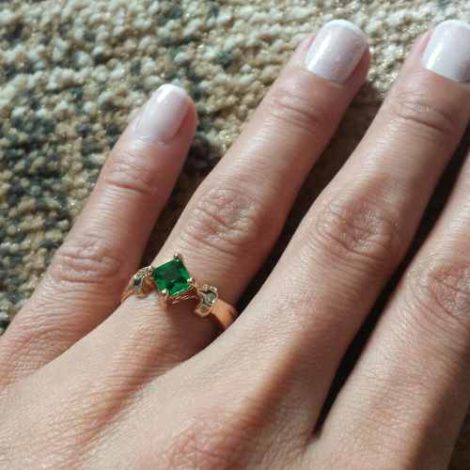 anel formatura pedra verde esmeralda joia rommanel 512152