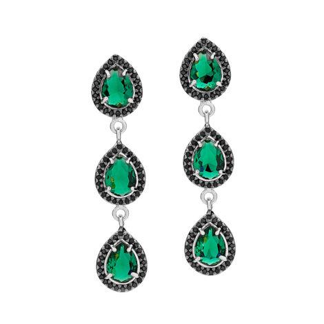 brinco longo gotas cristal verde zirconia negra preta joia folheada ouro branco joia rommanel brilho folheados