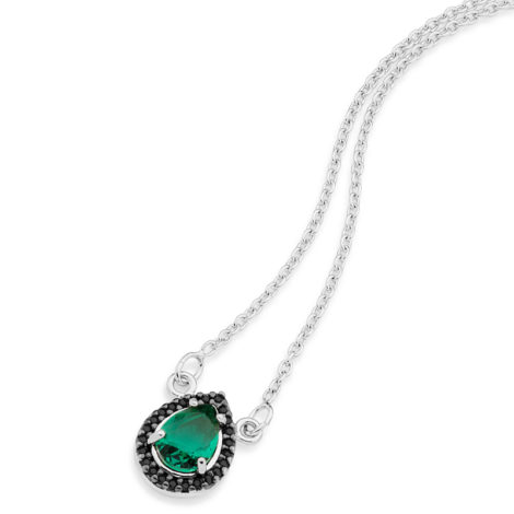 colar super delicado gota cristal verde joia rommanel ouro branco brilho folheados